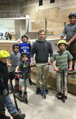Taylin Hoisington, scooter extraordinaire, and some of his students