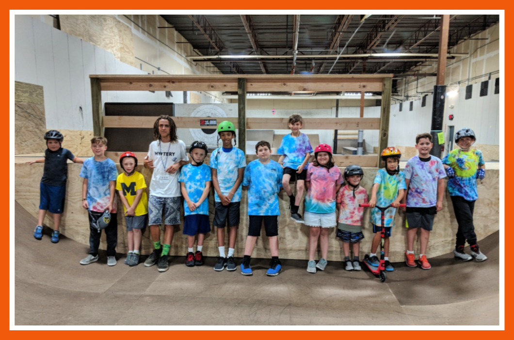 We made tie dye T shirts at summer skate camp!
