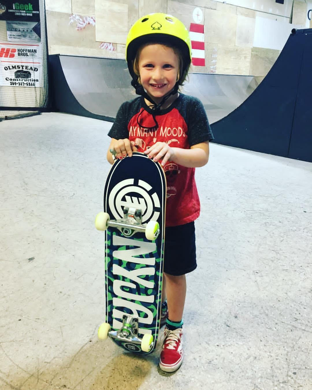 Enjoying skate lessons with a new  Element Skateboard