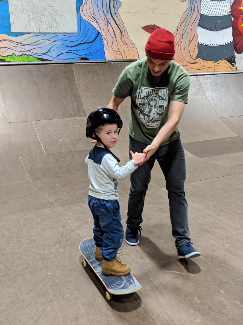 Skateboard lesson!